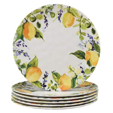 Certified International Lemon Zest Melamine Dinner Plates (Set of 6)