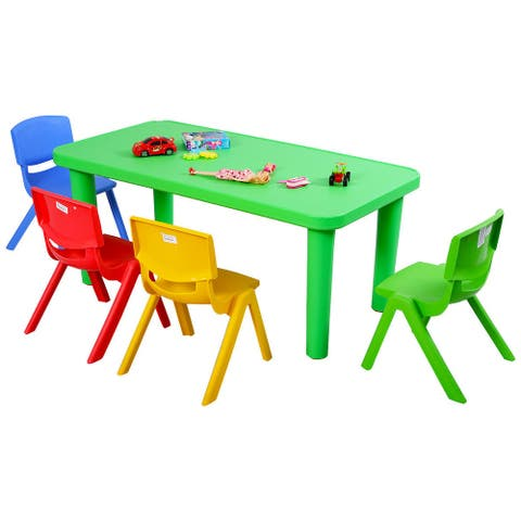 Costway Kids Plastic Table and 4 Chairs Set Colorful Play School Home