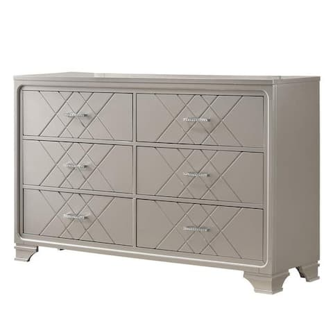 6 Drawer Wooden Dresser with Diamond Pattern and Bracket Feet, Silver