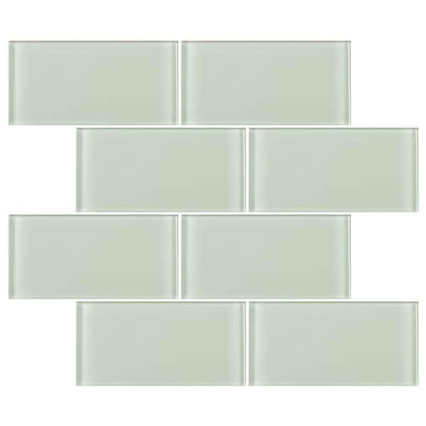 "TileGen. 3"" x 6"" Glass Subway Tile in Mint White Wall Tile (80 tiles/10sqft.). Opens flyout."