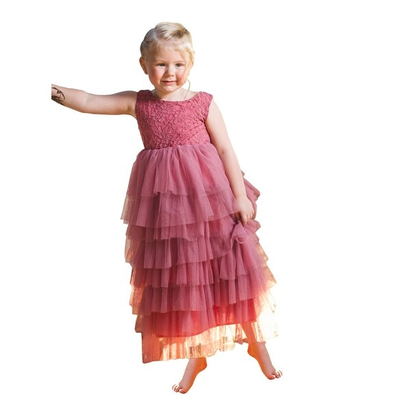 05584c43e9056 Shop Girls Rose Ruffle Layered Tulle Junior Bridesmaid Dress Gown ...