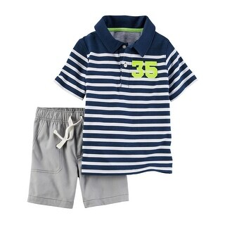 Carter's Baby Boys' 2 Piece Striped Polo & Canvas Short Set, 6 Months