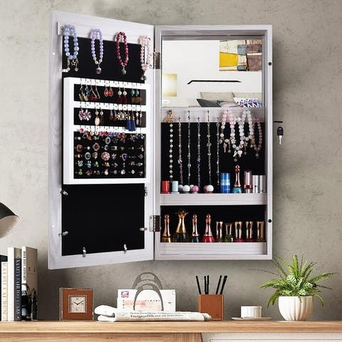 24-inch Wall-mounted Lockable Mirrored Jewelry Armoire Cabinet