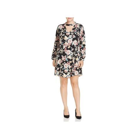 Bobeau Womens Plus Mykla Casual Dress Floral Print Choker Neck - 3X
