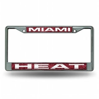 RIC- Miami Heat NBA Bling Glitter Chrome License Plate Frame