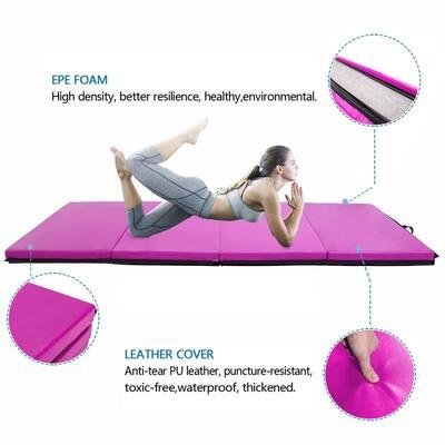 8ftx4ftx2in Waterproof Gymnastics Mat,Four Folding Yoga Mat,Purple