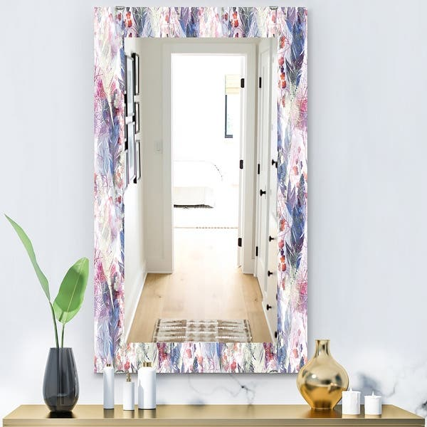 Designart Feathers 2 Bohemian And Eclectic Mirror Frameless Modern Wall Mirror On Sale Overstock 28004000