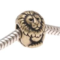 TierraCast Brass Oxide Finish Pewter European Style Large Hole Lion Bead 11.5mm/ 1
