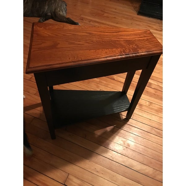 Shop Solid Oak Recliner Wedge Table   Free Shipping Today   Overstock.com    6084651