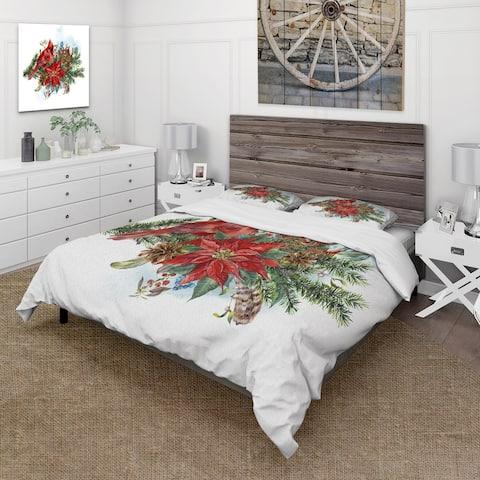 Designart 'Christmas Poinsettia and Red Cardinal Bird' Traditional Duvet Cover Set