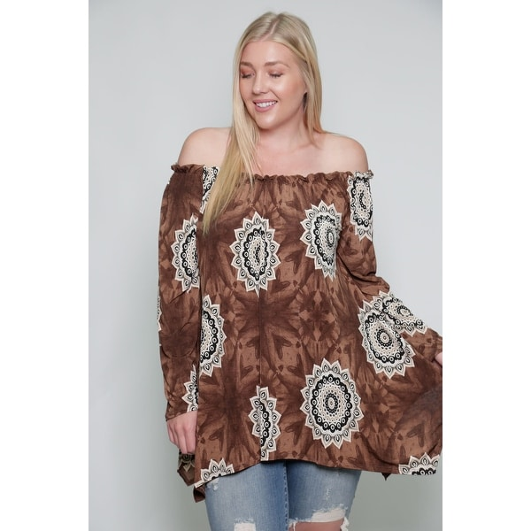 Shop Women s Plus Size Off The Shoulder Sunflower Blouse Top Made in ... c13ce3eb9