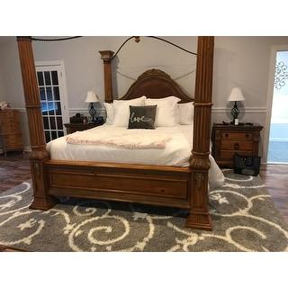 Porch & Den Decatur Light Grey White Indoor Shag Area Rug