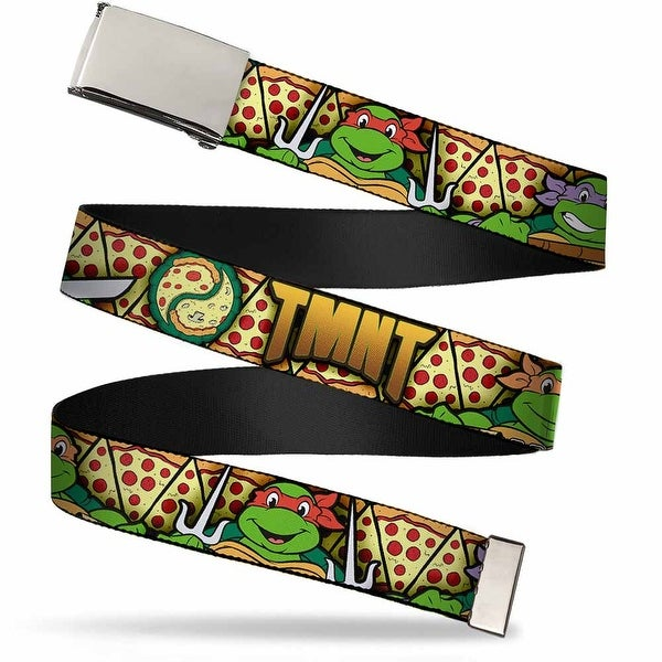 Blank Chrome Buckle Classic Tmnt Turtle Poses Pizza Slices Webbing Web Web Belt