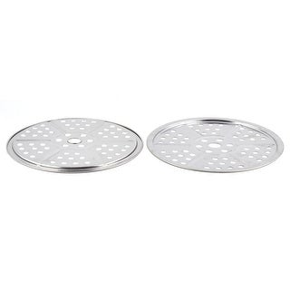 Home Kitchen Metal Cooker Food Bread Baking Steaming Rack Tray Silver Tone 2 Pcs