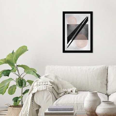 Wynwood Studio 'Connection' Abstract Wall Art Framed Print Shapes - Gray, Pink