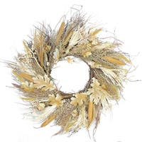 """24"""" Autumn Harvest Cattail and Wheat Artificial Thanksgiving Wreath - Unlit - brown"""