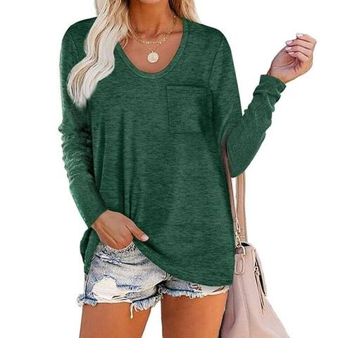Long Sleeve V Neck Tunic Tops Loose Blouse Shirts