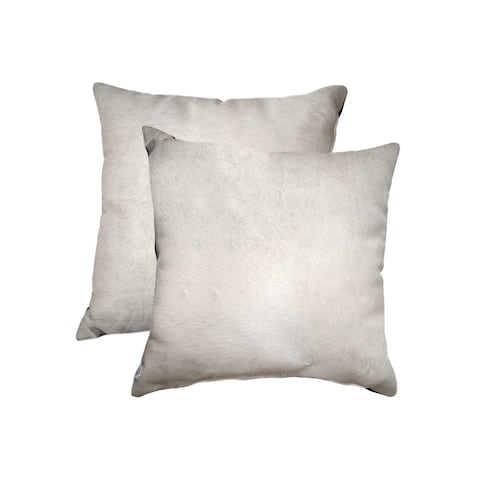 """HomeRoots 18"""" x 18"""" x 5"""" Off White Cowhide - Pillow 2-Pack"""