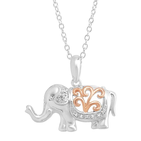 Filigree Elephant Pendant with Diamonds in Sterling Silver with Rose Gold Flash