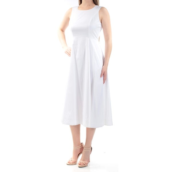 aae7066db39e Shop ALFANI Womens White Sleeveless Jewel Neck Midi Fit + Flare Dress Size   6 - On Sale - Free Shipping On Orders Over  45 - Overstock - 22426412