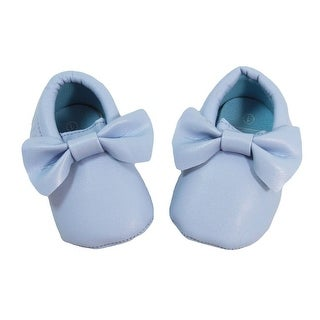 Baby Girls Light Blue Bow Faux Leather Moccasin Soft Sole Crib Shoes