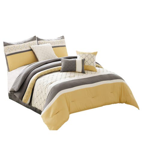 Quatrefoil Print King Size 7 Piece Fabric Comforter Set, Yellow and Gray