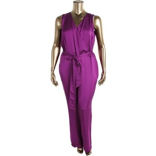 Lauren Ralph Lauren Womens Plus Surplice Sleeveless Jumpsuit