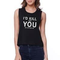 365 Printing I Hate You Women's Black Crop Tee Creative Gifts For Anniversaries