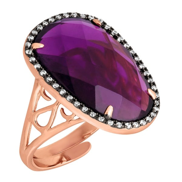 Natural Amethyst Quartz & Cubic Zirconia Ring in 18K Rose Gold-Plated Sterling Silver - Purple