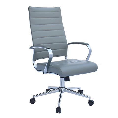 Modern High Back Tall Ribbed Office PU Leather Swivel Tilt Adjustable Cushion Chair Designer Boss Executive