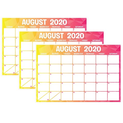 "Geo Abstract Desk Academic Calendar, August-July, 13"" x 19"", Pack of 3 - One Size"