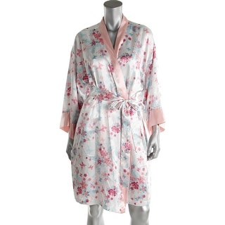 Morgan Taylor Womens Kimono Robe Satin Floral Print - L/XL