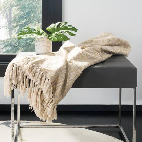 SAFAVIEH Peppin Metallic Natural/Gold Throw Blanket