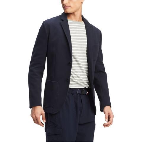 Tommy Hilfiger Mens Monaco Two Button Blazer Jacket, Blue, X-Large