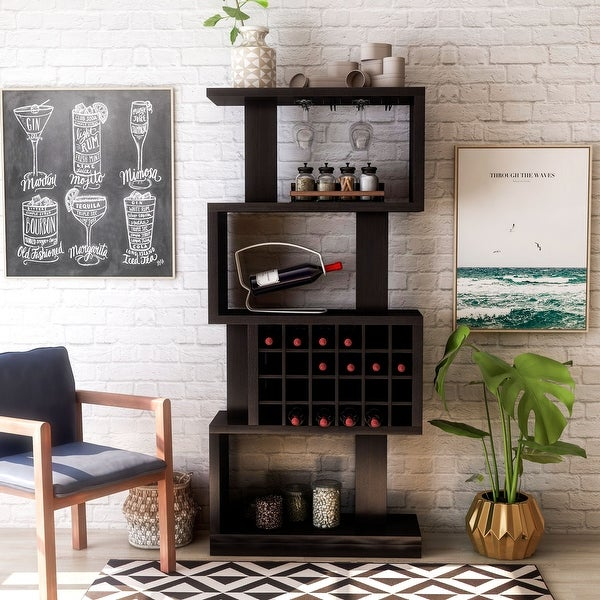 Furniture of America 4-tier Bar Cabinet. Opens flyout.