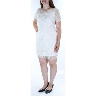 Womens White Short Sleeve Above The Knee Body Con Casual Dress Size: L