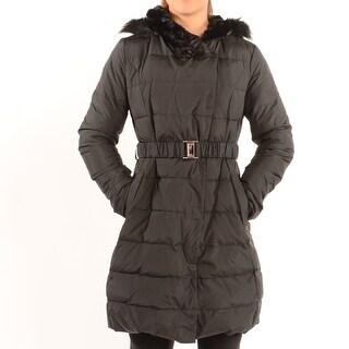 Tahari &Quot;Roma&Quot; Faux Fur Trim Down Puffer Coat - Black