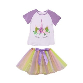 Unicorn Print Tee T-Shirt Top for Little Girl Lilac 201377