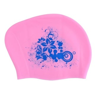 Silicone Flower Print Dome Shaped Elastic Water Resistant Swimming Cap Hat Pink