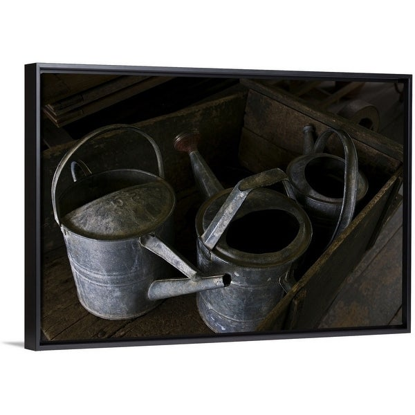 Floating Frame Premium Canvas With Black Enled Three Aluminum Watering Cans In A Wheel Barrow Machussetts Free Shipping Today