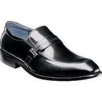 Stacy Adams Men's Jonas Moc Toe Loafer Black Buffalo Leather