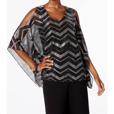 95e14a85f4cd MSK Black Womens Size Medium M V-Neck Cold-Shoulder Metallic Blouse