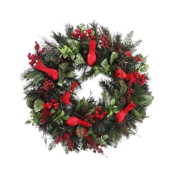 """24"""" Pre-Decorated Cardinal, Berry, Pine Cone Artificial Christmas Wreath - Unlit - green"""