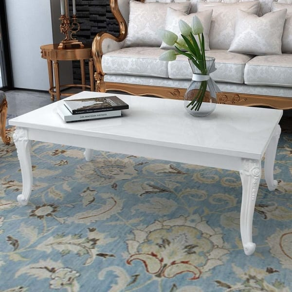 Shop vidaXL High Gloss White Coffee Side Couch Table Living ...
