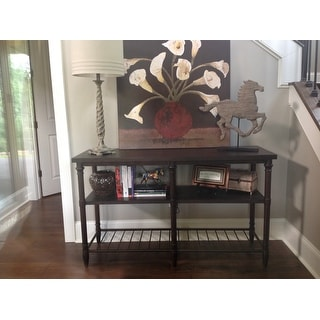 54-inch Renate Sofa Table in Coffee Brown with Rack