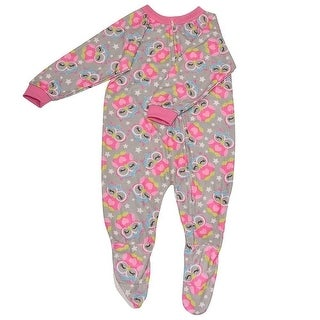 Mon Petit Baby Girls Gray Owl Print Zip Closure Footed Sleeper Pajama