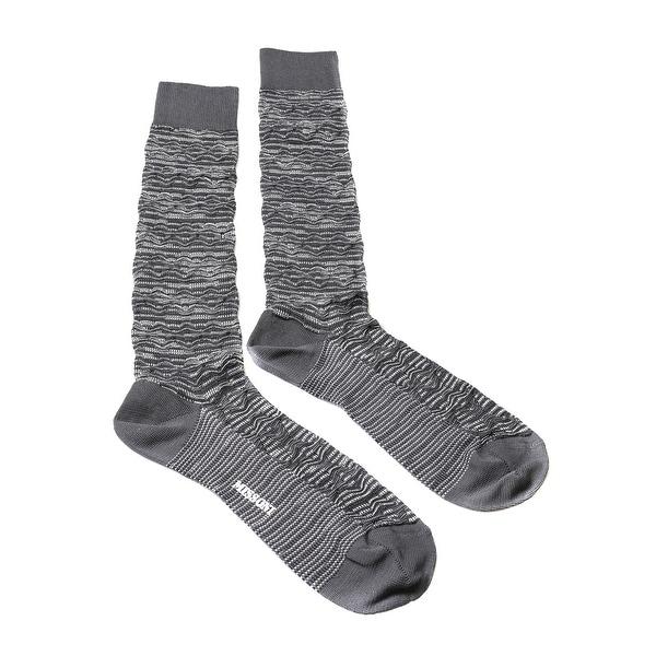 Missoni GM00CMU5244 0001 Gray/White Knee Length Socks - Grey