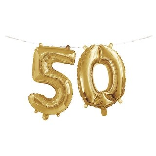 "Club Pack of 24 Gold Metallic ""50"" Party Foil Balloon Banners 9.8"""
