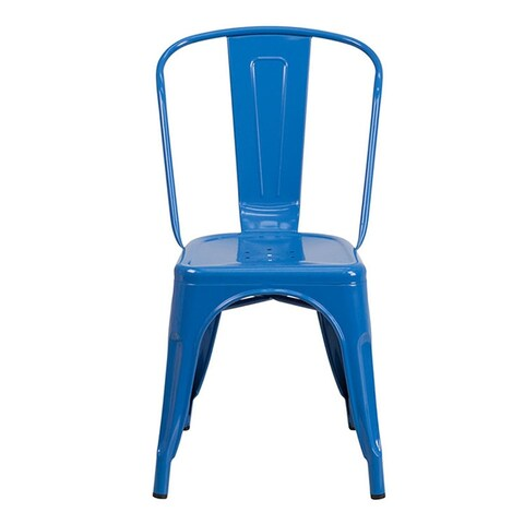 Offex Blue Metal Indoor-Outdoor Stackable Chair [OF-CH-31230-BL-GG]