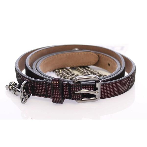 Dolce & Gabbana Purple Leather Logo Chain Belt